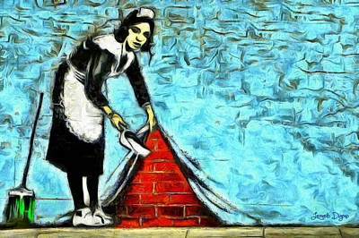 Brick Painting - The Cleaner And The Wall - Pa by Leonardo Digenio