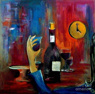 Wine Painting - The Clock Strikes Happy Hour by Lisa Kaiser