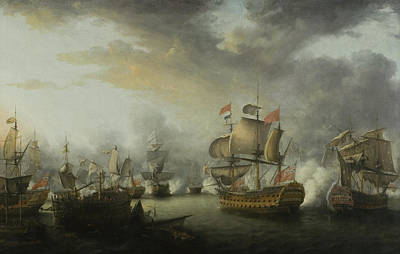 Pirate Ships Painting - The Close Of The Battle Of The Saints by Nicholas Pocock