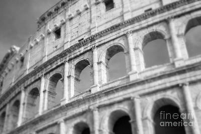 The Colosseum In Black And White Print by Sonja Quintero
