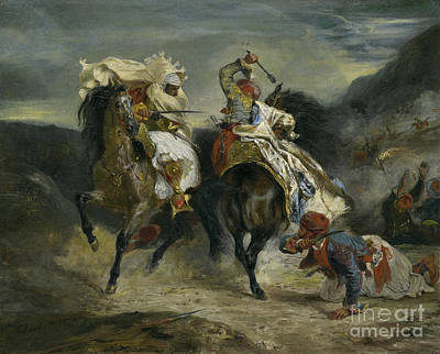 The Combat Of The Giaour And Hassan Print by Ferdinand Victor Eugene Delacroix