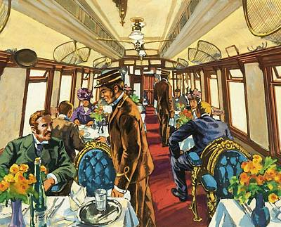 Victorian Era Painting - The Comfort Of The Pullman Coach Of A Victorian Passenger Train by Harry Green