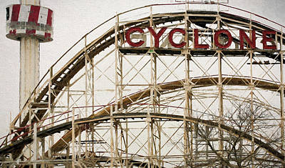 Rollercoaster Photograph - The Coney Island Cylcone by JC Findley