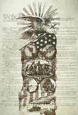 Red White And Blue Mixed Media - The Constitution Of The United States Of America by Dan Sproul
