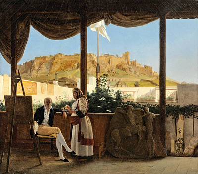 Louis Dupre Painting - The Consul Louis Fauvel Painting. The Acropolis At The Background by Louis Dupre