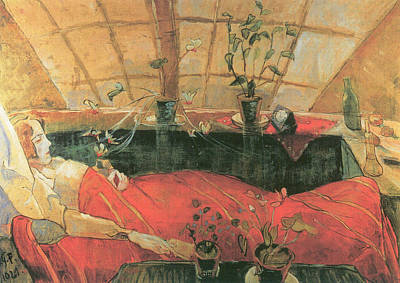 Bed Painting - The Convalescent  by Walter Gramatte