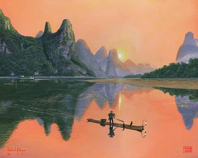 Cormorant Painting - The Cormorant Fisherman Li River Guilin China  by Richard Harpum
