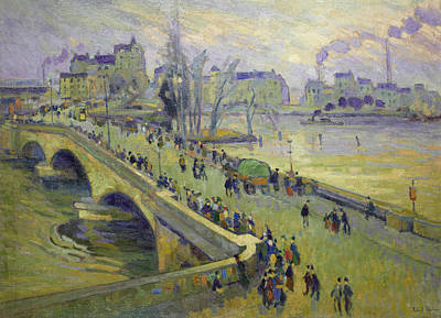 Ecole Painting - The Corneille Bridge, Rouen by Robert Antoine Pinchon