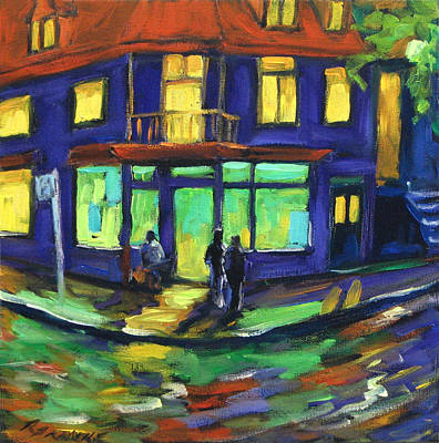 Quebec Painting - The Corner Store by Richard T Pranke