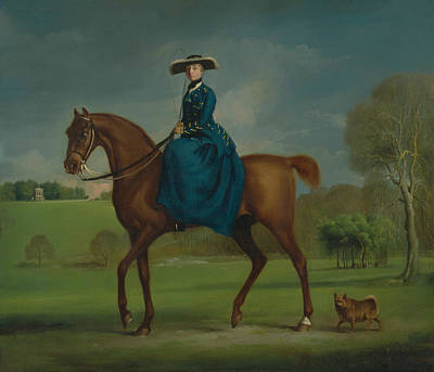 George The Painter Painting - The Countess Of Coningsby In The Costume Of The Charlton Hunt by George Stubbs