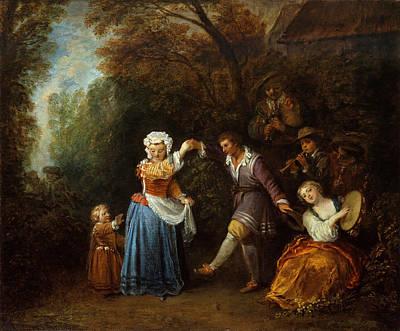 Antoine Watteau Painting - The Country Dance by Antoine Watteau