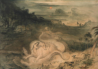 The Country Of The Iguanodon Print by John Martin