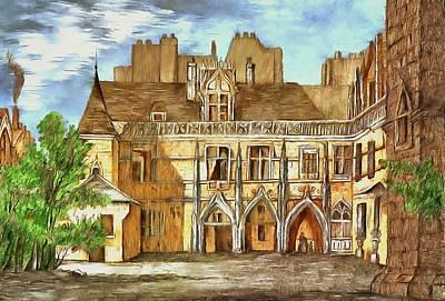 Drawing - The Courtyard Of The Medieval Castle by Sergey Lukashin