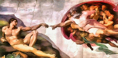 Religion Painting - The Creation Of Adam By Michelangelo Revisited by Leonardo Digenio