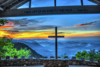 The Cross Sunrise At Pretty Place Chapel Print by Reid Callaway