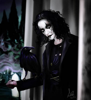 Ravens Drawing - The Crow by Alessandro Della Pietra
