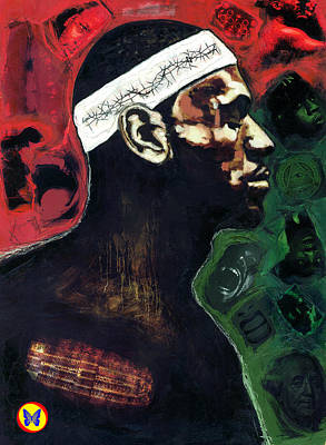 Basketball Abstract Painting - The Crucifiction Of Lebron James by Vernell Garrett
