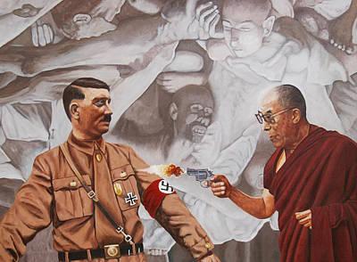 Nazi Painting - The Dalai Lama Shoots Adolph Hitler by Allan OMarra