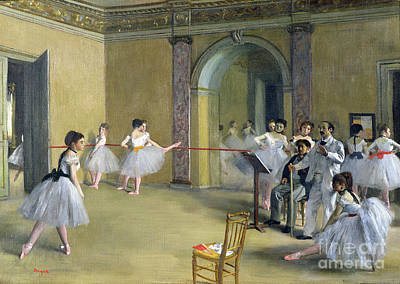 Rehearsal Painting - The Dance Foyer At The Opera On The Rue Le Peletier by Edgar Degas