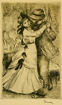 Pierre-auguste Renoir Drawing - The Dance In The Country by Pierre-Auguste Renoir