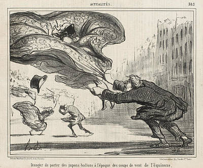 Daumier Drawing - The Danger Of Wearing Hoop-skirts by Honore Daumier