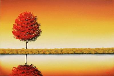 Autumn Landscape Painting - The Day's Repose by Rachel Bingaman