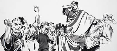 Orator Painting - The Death Of Julius Caesar by English School