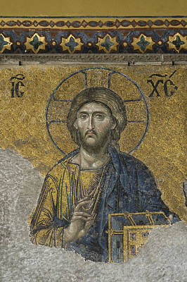 The Dees Mosaic In Hagia Sophia Print by Ayhan Altun