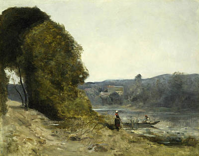 The Departure Of The Boatman Print by Jean-Baptiste-Camille Corot