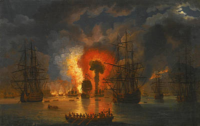 Painting - The Desctruction Of The Turkish Fleet In The Battle Of Chesme 6-7 July 1770 by Jacob Philipp Hackert
