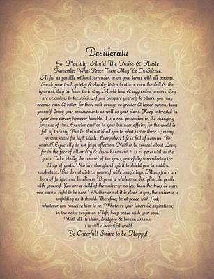 Desiderata Drawing - The Desiderata Poem By Max Ehrmann On Antique Parchment by Desiderata Gallery