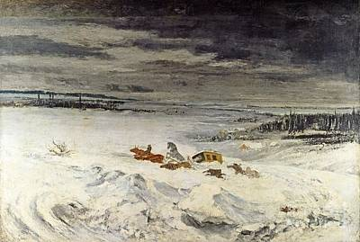 Gustave Painting - The Diligence In The Snow  by Gustave Courbet