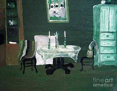 The Dining Room - Green Original by Reb Frost