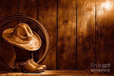 The Dirty Hat - Sepia Print by Olivier Le Queinec