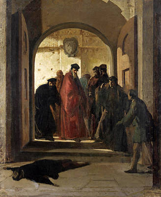 Cristiano Banti Painting - The Discovery Of The Corpse Of Lorenzino De Medici. The Conspiracy by Cristiano Banti