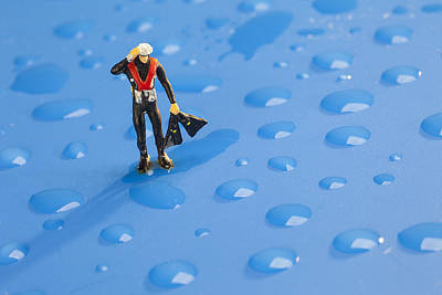 Wall Photograph - The Diver Among Water Drops Little People Big World by Paul Ge