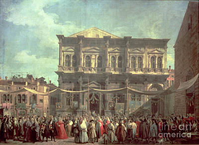 The Doge Visiting The Church And Scuola Di San Rocco Print by Canaletto
