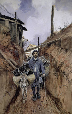First World War Painting - The Donkey by Francois Flameng