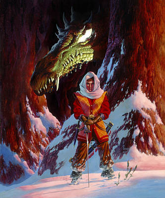 Barbarian Painting - The Dragon In Winter by Richard Hescox
