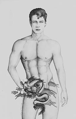 Male Nude Drawing Drawing - The Dragon's Son by Sandra Wright