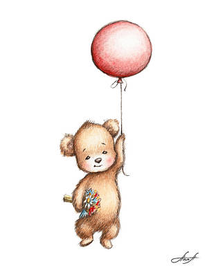 The Drawing Of Teddy Bear With Red Balloon And Flowers Print by Anna Abramska
