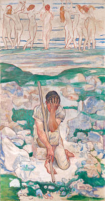Ferdinand Hodler Painting - The Dream Of The Shepherd by Ferdinand Hodler
