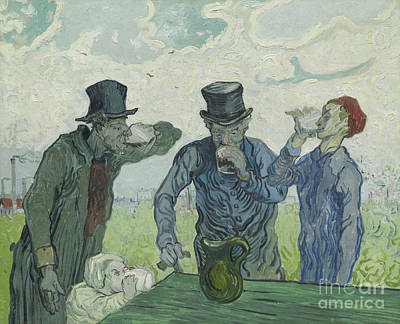 Van Gogh Glass Painting - The Drinkers by Vincent Van Gogh
