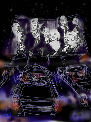 1950s Movies Digital Art - The Drive In by Russell Pierce