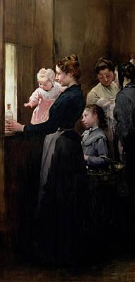 Bottle Painting - The Drop Of Milk In Belleville by Henri Jules Jean Geoffroy