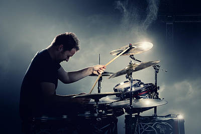 Concert Photograph - The Drummer by Johan Swanepoel