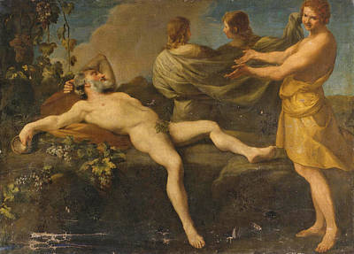Andrea Sacchi Painting - The Drunkenness Of Noah by Attributed to Andrea Sacchi