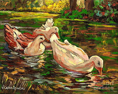 Verdun Landmarks Painting - The Duck Pond At Botanical Gardens by Carole Spandau