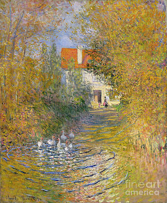 Farmhouse Painting - The Duck Pond by Claude Monet
