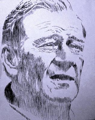 John Wayne Drawing - The Duke by Robbi  Musser